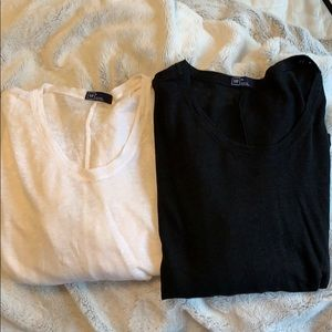 BUNDLE GAP BLACK AND WHITE LINEN SHIRTS